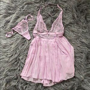 Victoria Secret sexy babydoll pink lingerie set